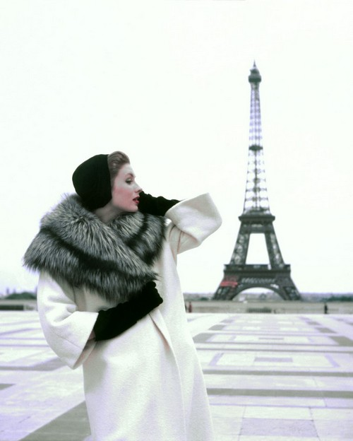 "Suzy Parker Tour Eiffel, for ""ELLE"", Winter Givenchy, Paris"