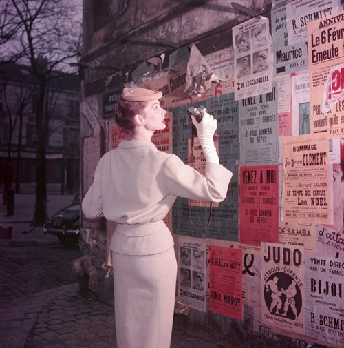 Suzy Parker Photographer with Posters 1953