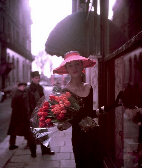 "Suzy Parker with Tulips, for ""ELLE"", Spring Collection, Paris"
